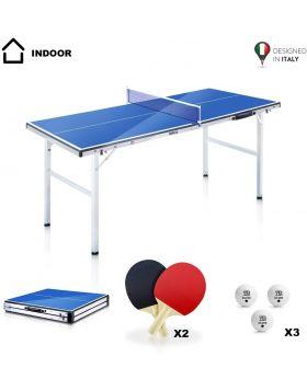 YM Tavolo Ping Pong MINI Pieghevole NINJA Mini Richiudibile in Valigetta, Portatile e Compatto, Telaio in Acciaio con Tubolari da 25mm. Incluse Racchette e Palline. Dimensioni aperto: cm 150 x 67 x 69