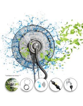 DARDARUGA Kit Nebulizzatore Spruzzino da Giardino da Esterno per Ventilatore - 5 Ugelli Ottone Premium - Adatto a Tutti i Ventilatori - Facile Montaggio - Diametro del Kit: 30 cm