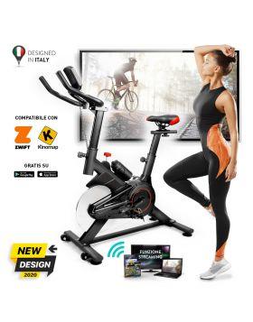 YM Cyclette da Casa, Bici Spinning (Bike Fit), Display LCD Multifunzione, Bluetooth + App ZWIFT e KINOMAP, Resistenza Regolabile, Sensori Pulsazioni, Sella e Manubrio Regolabili, Ruote, 2020