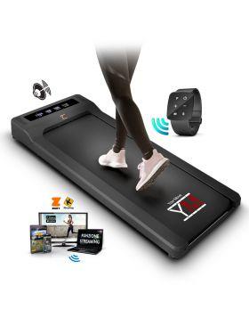 YM Walking Pad Tapis Roulant Elettrico Scrivania App KINOMAP e ZWIFT, Altoparlanti Integrati, Orologio Telecomando Watch Controller, 6 Programmi, Professionale Slim Piatto Bluetooth per Casa e Ufficio 1,5HP (Picco 2,5HP)